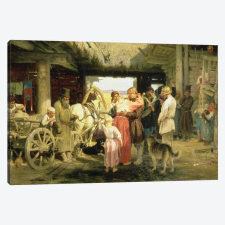 The Leave-Taking of the New Recruit, 1879  Canvas Print #BMN10517} by Ilya Efimovich Repin Canvas Wall Art
