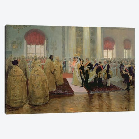The Marriage of Tsar Nicholas II  and Alexandra Feodorovna  1894  Canvas Print #BMN10518} by Ilya Efimovich Repin Canvas Art Print