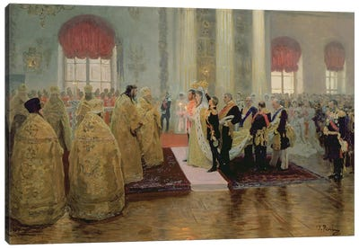 The Marriage of Tsar Nicholas II  and Alexandra Feodorovna  1894  Canvas Art Print