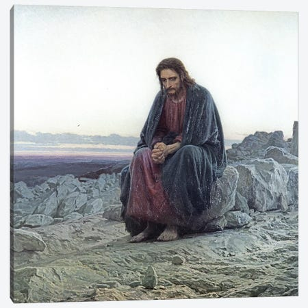 Christ in the Wilderness, 1873  Canvas Print #BMN10526} by Ivan Nikolaevich Kramskoy Canvas Print