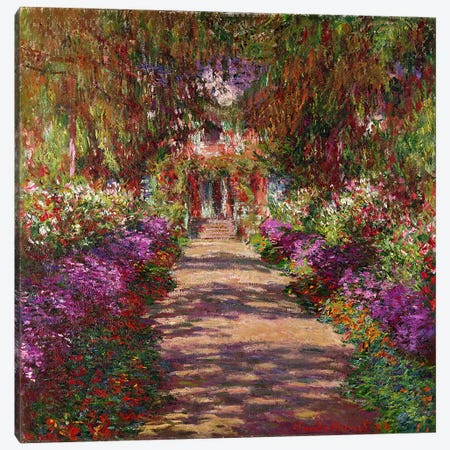 A Pathway in Monet's Garden, Giverny, 1902 3-Piece Canvas #BMN1052} by Claude Monet Art Print