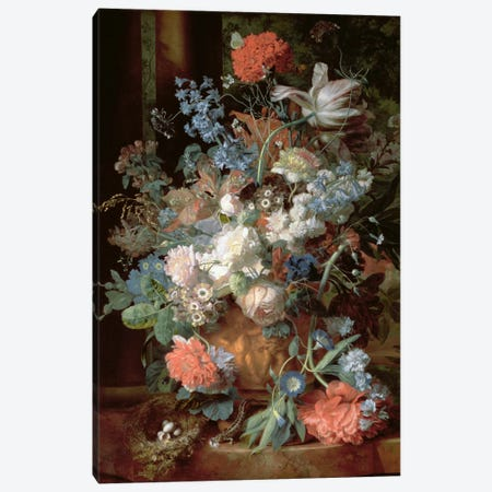 Bouquet of Flowers in a Landscape Canvas Print #BMN1053} by Jan van Huysum Canvas Print