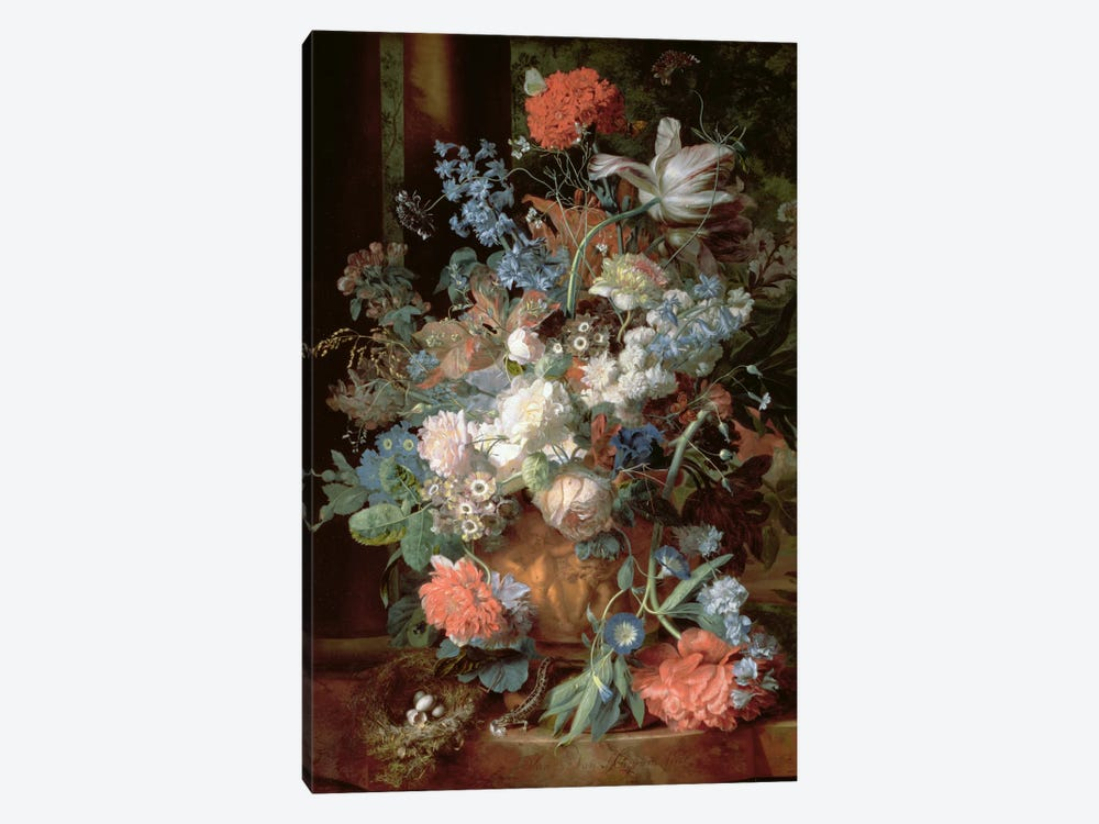 Bouquet of Flowers in a Landscape by Jan van Huysum 1-piece Art Print