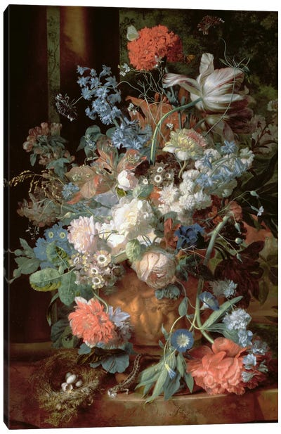 Bouquet of Flowers in a Landscape Canvas Art Print