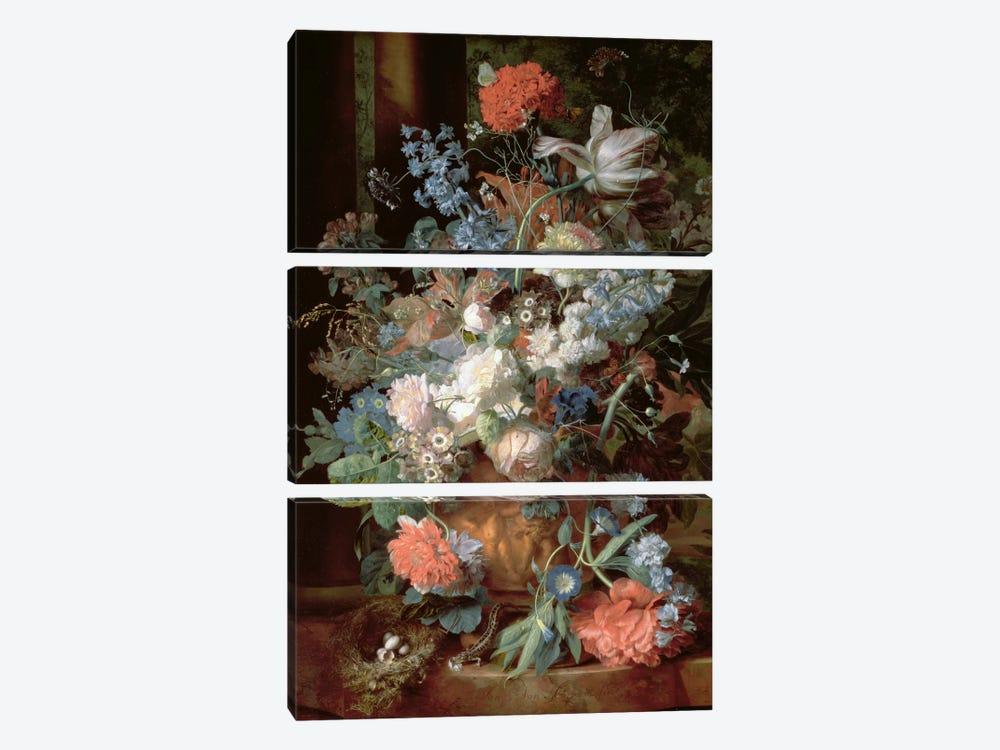 Bouquet of Flowers in a Landscape by Jan van Huysum 3-piece Art Print