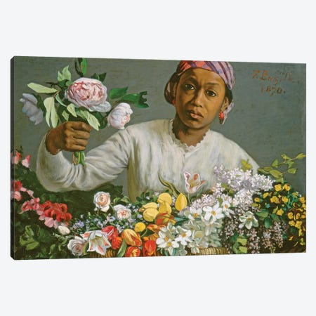 Young Woman with Peonies, 1870  Canvas Print #BMN10541} by Jean Frederic Bazille Canvas Art