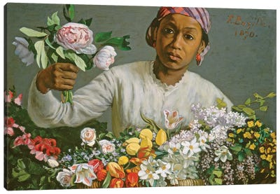 Young Woman with Peonies, 1870  Canvas Art Print