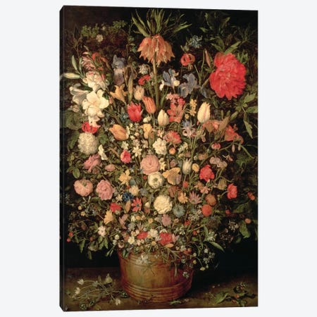 Large bouquet of flowers in a wooden tub, 1606-07,  Canvas Print #BMN1054} by Jan Brueghel the Elder Canvas Wall Art