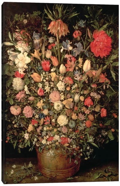 Large bouquet of flowers in a wooden tub, 1606-07,  Canvas Art Print