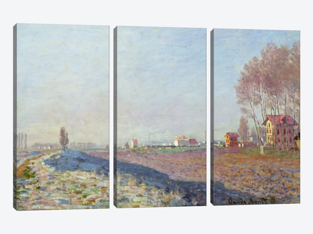 The Plain of Colombes, White Frost, 1873 by Claude Monet 3-piece Art Print