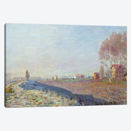 The Plain of Colombes, White Frost, 1873 3-Piece Canvas #BMN1055} by Claude Monet Canvas Art