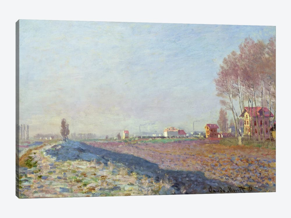 The Plain of Colombes, White Frost, 1873 by Claude Monet 1-piece Art Print