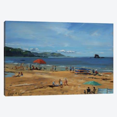 Thurlestone, Red Umbrella Canvas Print #BMN10560} by Jennifer Wright Canvas Wall Art