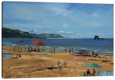 Thurlestone, Red Umbrella Canvas Art Print