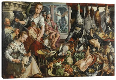 The Well-stocked Kitchen, 1566  Canvas Art Print