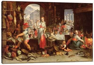 Kitchen Scene with the Parable of the Feast  Canvas Art Print