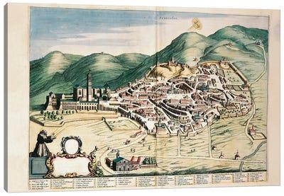 Map of Assisi from Theatrum civitatum et admirandorum Italiae, by Joan Blaeu, engraving Canvas Art Print