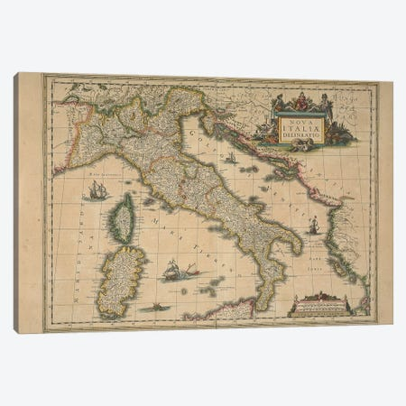 Map of Italy by Joan Blaeu Canvas Print #BMN10567} by Joan Blaeu Art Print