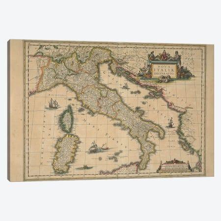 Map of Italy by Joan Blaeu Canvas Print #BMN10567} by Joan Blaeu Art Print