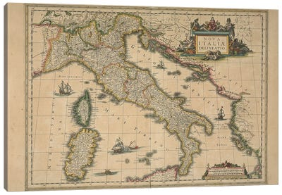 Map of Italy by Joan Blaeu Canvas Art Print