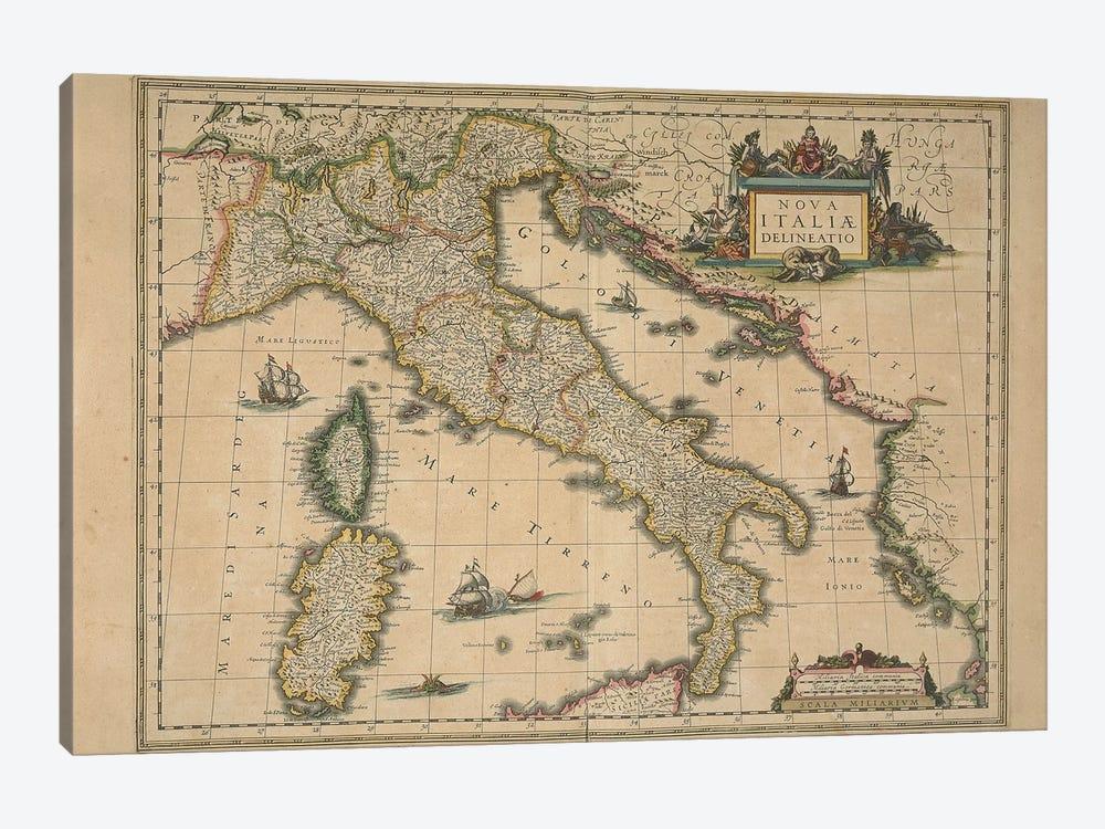 Map of Italy by Joan Blaeu by Joan Blaeu 1-piece Canvas Print