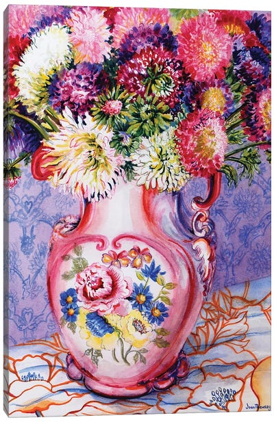 Asters in a Pink Floral Victorian Jug 2002 Canvas Art Print