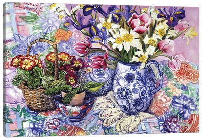 Daffodils, Tulips and Iris in a Jacobean Blue and White Jug with Sanderson Fabric and Primroses, 2012  Canvas Art Print