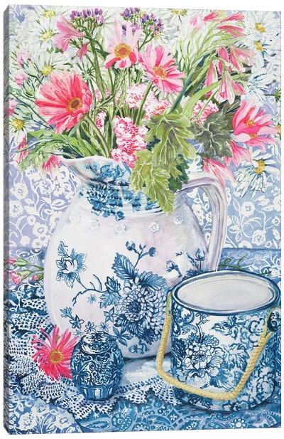 Gerberas in a Coalport Jug with Blue Pots  Canvas Art Print