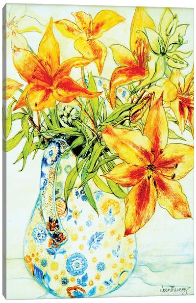 Orange Lilies in a Japanese Vase, 2000, Canvas Art Print