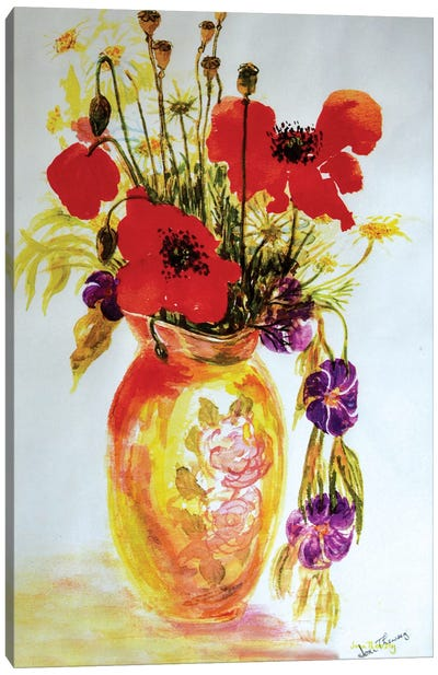 Poppies in a Vase,2000,  Canvas Art Print