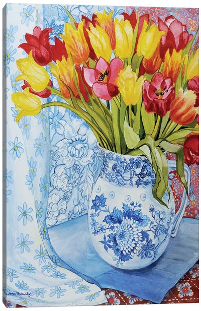 Red and yellow tulips in a Copeland jug  Canvas Art Print
