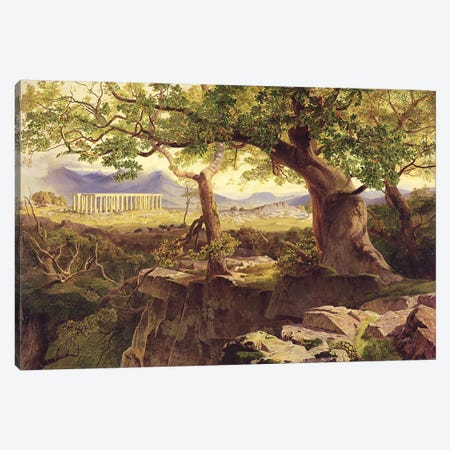 The Temple of Apollo, Bassae, 1854-55  Canvas Print #BMN1057} by Edward Lear Canvas Artwork