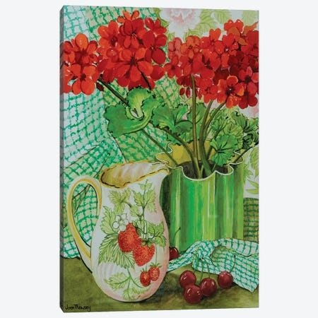 Red geranium with the strawberry jug and cherries  Canvas Print #BMN10580} by Joan Thewsey Canvas Art