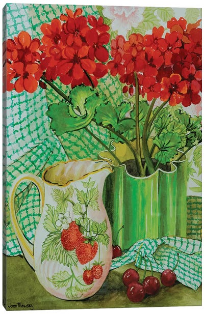 Red geranium with the strawberry jug and cherries  Canvas Art Print