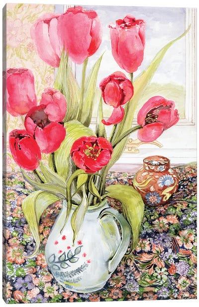 Tulips in a Rye Jug  Canvas Art Print