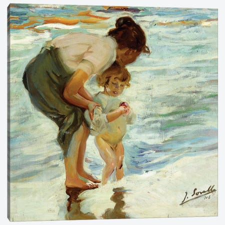 On the Beach, 1908  Canvas Print #BMN10593} by Joaquin Sorolla y Bastida Canvas Art Print