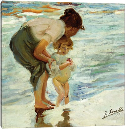 On the Beach, 1908  Canvas Art Print