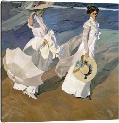 Strolling along the Seashore, 1909  Canvas Art Print