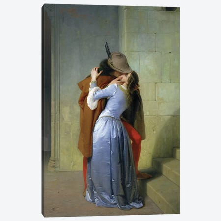 The Kiss, 1859  Canvas Print #BMN1059} by Francesco Hayez Canvas Print