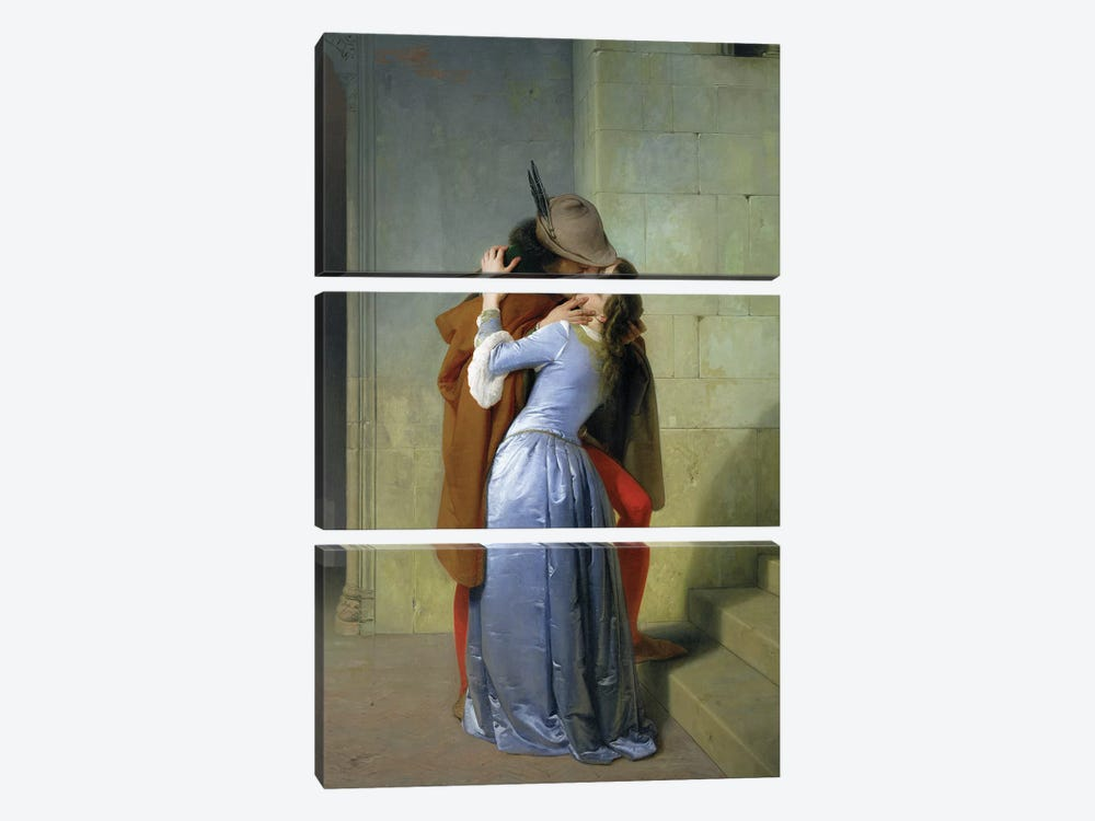 The Kiss, 1859  by Francesco Hayez 3-piece Canvas Art Print