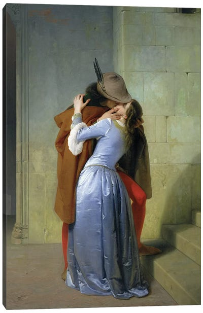 The Kiss, 1859  Canvas Art Print