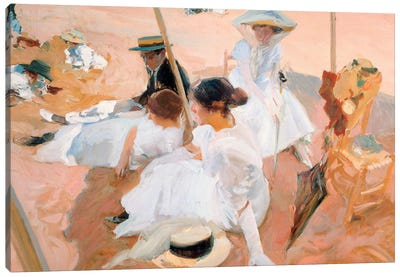 Under the Parasol, on the Beach at Zarautz, 1905  Canvas Art Print