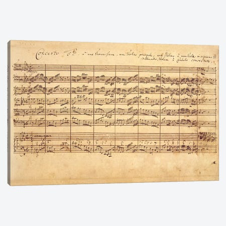 The Brandenburg Concertos, No.5 D-Dur, 1721   Canvas Print #BMN10604} by Johan Sebastian Bach Canvas Wall Art