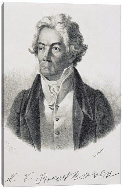 Portrait of Ludwig van Beethoven , German composer and pianist, 1824 Canvas Art Print