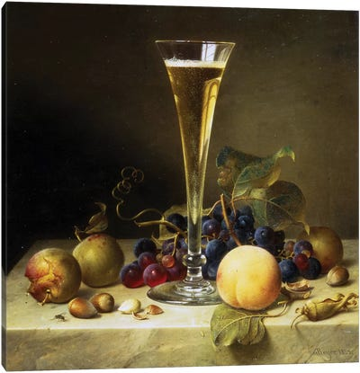 Still Life with a glass of champagne, 1855  Canvas Art Print