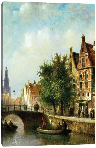 Figures on a Canal, Amsterdam  Canvas Art Print