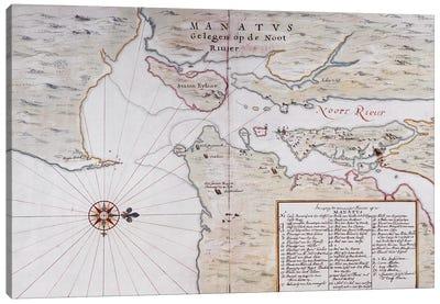 Map of Manhattan, North America, 1639  Canvas Art Print