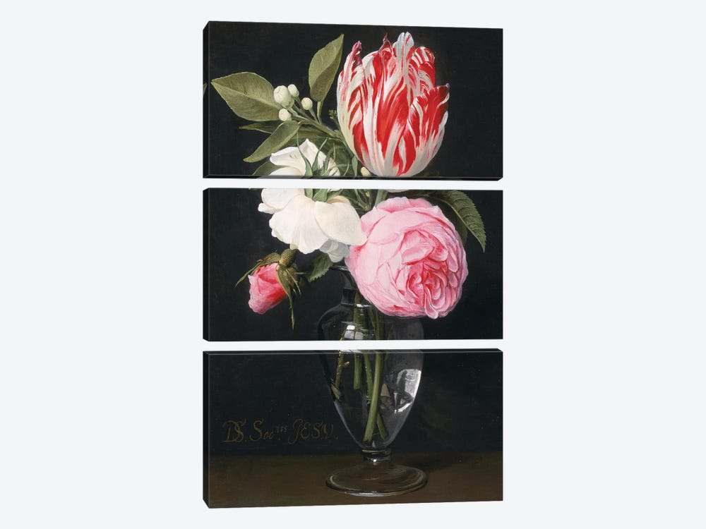 Flowers in a glass vase  by Daniel Seghers 3-piece Canvas Print