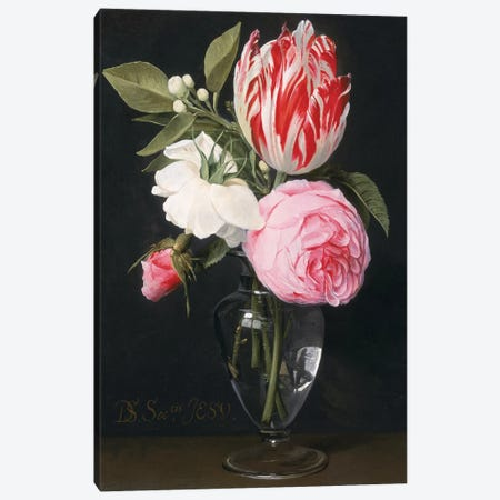 Flowers in a glass vase  Canvas Print #BMN1060} by Daniel Seghers Canvas Art