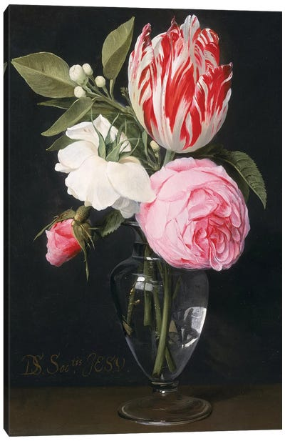 Flowers in a glass vase  Canvas Art Print